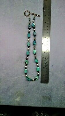 N47 Leather Cord Chrysocolla Center Hand-Made Peruvian Gemstone Necklace