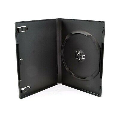 Maxtek Standard 14mm Black Single Disc DVD Cases with Outer Clear Sleeve ... New