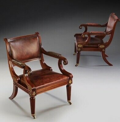 Pair of antique mahogany, ormolu mounted, regency style chairs
