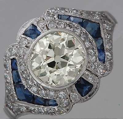2.35 Ct Vintage Round Cut & Sapphire Antique Engagement Ring 925 Sterling Silver