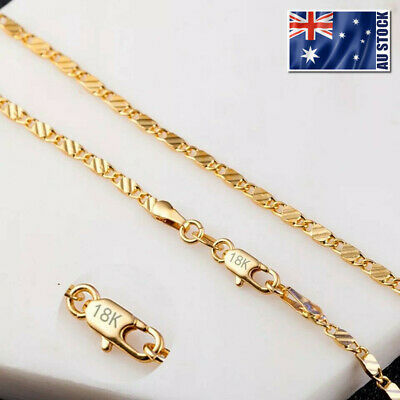 Stunning 18K Yellow Gold GP 2mm Flat Link Chain Necklace For Pendant Wholesale