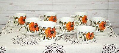 Vintage 1960s Meakin Part Teaset Poppy Pattern Jug + Bowl + 6 x Cups & Saucers