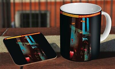 Depeche Mode Black Celebration Ceramic Coffee MUG + Wooden Coaster Set