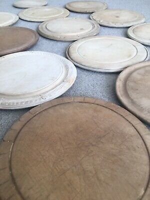 Antique Victorian Rustic Round Wooden Carved Sycamore Bread Board C1880