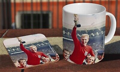 England 1966 World Cup Winners Ceramic Coffee MUG + Wooden Coaster Set