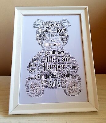 Teddy bear Personalised WordArt - Christmas, Birthday, Mother & Father day gifts