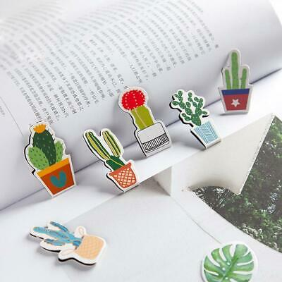 2Pcs/pack Green Cactus Magnet Bookmarks Paper Clip School Office Supply Gift