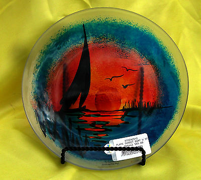 """Kosta SeaGlas Sunsent Boat Plate  7"""" with box Retail $85 **Price Drop**"""