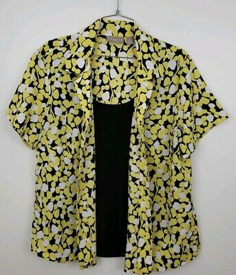 e6c4152feca Kim Rogers Womens Plus 1X Yellow Black Floral Layered Button Down S S Top