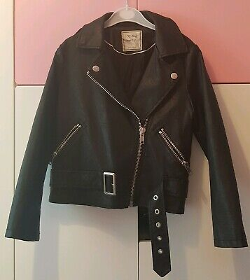 Girls Leather Coat Black Next Biker Jacket Age 7 Years BNWT