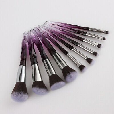10pcs Crystal Makeup Brushes Powder Blush Eye Shadow Blending Glitter Brush Set