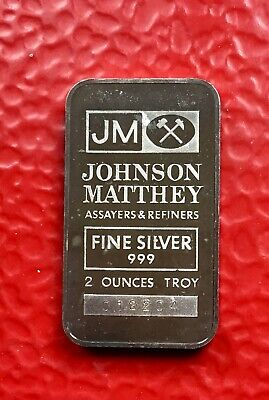 2 oz JM Johnson Matthey  999+ silver bar, Very Rare - No Tax