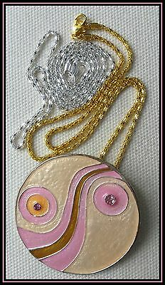 HIPPY BOHO Pink Peach Gold Crystal & Enamel Pendant Necklace + FREE Silver Chain