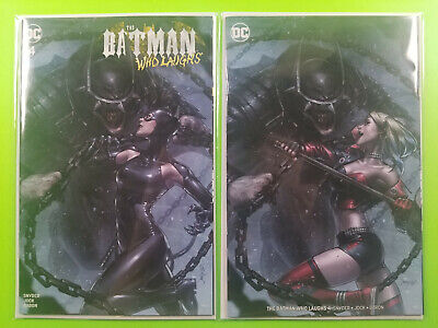 Batman Who Laughs #4 Jeehyung Lee Catwoman Trade + Harley Virgin Variant Set