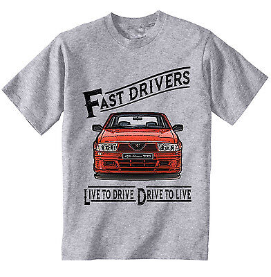 Alfa Romeo 75 Live To Drive - New Cotton Grey Tshirt - All Sizes In Stock