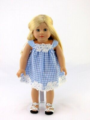 "Doll Clothes 18"" Sundress Dress Blue White Fits American Girl 18 Inch Dolls"