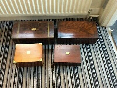 4 Old Writing Slope Large Antique House Military Victorian Restoration Boxes