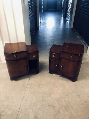 Pair Art Deco Bedside Or End Cabinets