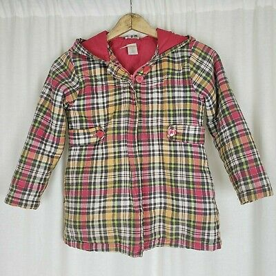 Gymboree 2009 Hooded Insulated Pink Checked Zip Up Jacket Girls 7 Pink Yellow