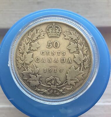 Canada 1919 50 Cents .925% Silver Coin Fifty Cents