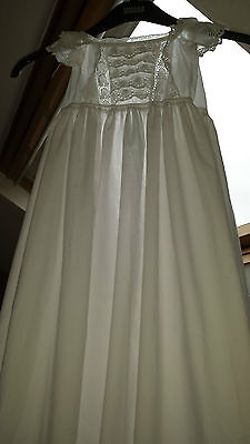 Vintage Handmade Christening Gown - White Broider Anglasie Embroidered Work