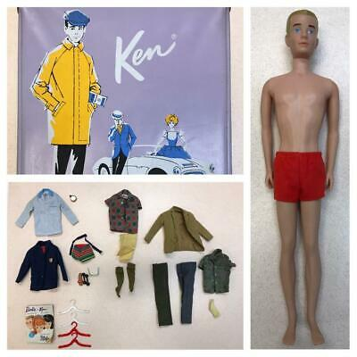 Vintage 1961 First KEN DOLL #750 BROWNETTE + HTF Clothes Outfits Booklet & Case