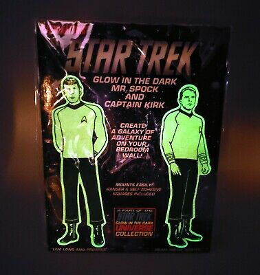 1991 Star Trek TOS Glow in the Dark Figures – Captain Kirk and Mr. Spock – WORKS