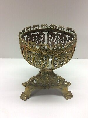 Vintage Brass Repousse Footed Bowl Ornate Cut Embossed Engraved Plant Stand R5