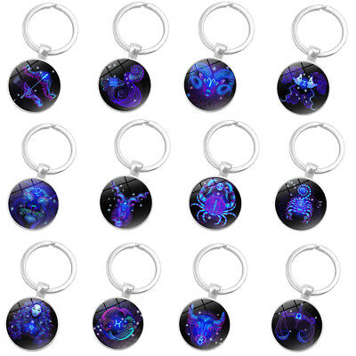 12 Constellation zodiac sign round glass pendant keys rings holder keychain tall