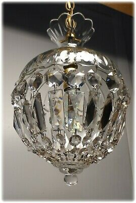 Vintage 1950's Unusual Small Cut Glass Crystal Light Petite Chandelier - # 2