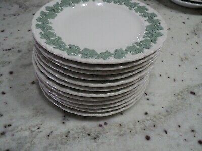 Wedgwood Queensware Shell Edge Celadon Green On Cream Embossed 12) Plates- 6.3/8