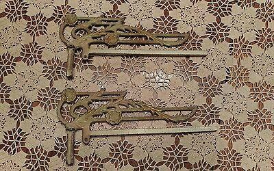 Pair Vintage Art Deco Cast Iron Ornate Curtain Rod Holders