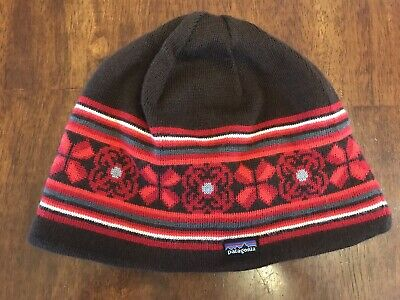 d2cc4081de76d PATAGONIA Beanie - Low Profile Knit Wool Fleece Lined Hat   Brown And Red