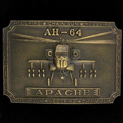 Vtg 80s AH64 Apache Helicopter Boeing Air Force Military Rare Brass Belt Buckle