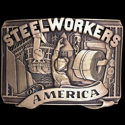 Vtg 80s United Steelworkers Of America USW Labor Union Brass Belt Buckle