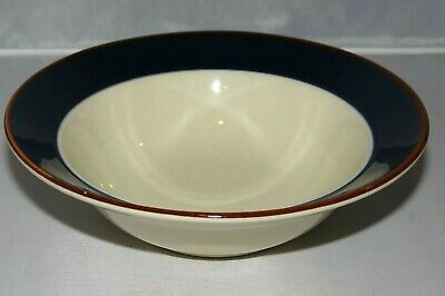 International Stoneware Red Blue White Striped Salad Soup Cereal Bowls Set of 6