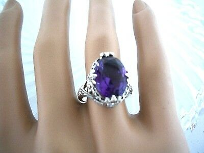 Amethyst 12Ct Ring  Antique Victorian Style   ~ Sterling Silver 925 Exquisite
