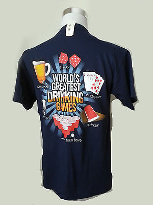 Sunsations Men's Size S Graphic Cotton T-shirt World Greatest Drinking Games