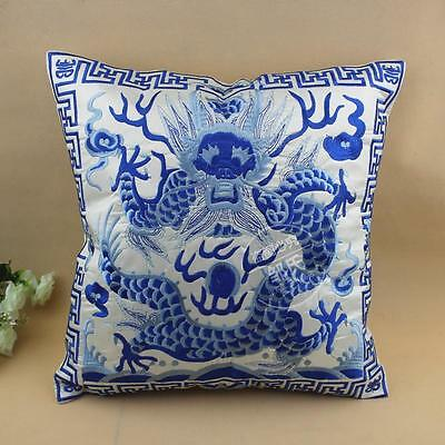 CLASSIC Chinese Blue And White Porcelain Silk EMBROIDERD Dragon Cushion Cover