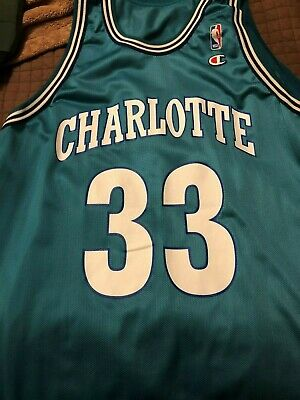 83cc8427210 Alonzo Mourning Charlotte Hornets Champion basketball jersey Size 52 Vintage