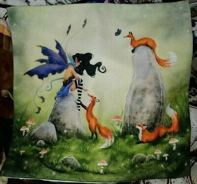 Fairy sitting on a rock playing with three Foxes Throw Pillow case. UnicornCrate