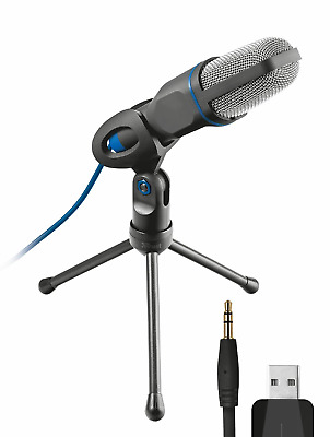 Trust Gaming 20378 Mico USB Microphone and Stand for PC Laptop, Connected, Blue