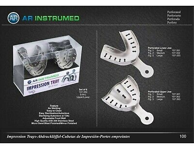 Dental Impression Tray perforated Upper & lower Jaw Set of 6 S, M L AR-INSTRUMED