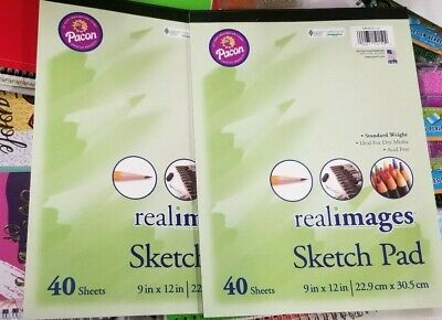 40 White Sheets 9x12 Inch Standard Weight RealImages Sketch Pad