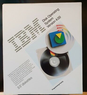 "IBM DOS (Disk Operating System) 4.00 - RARE BOXED 3.5"" floppy & Ring Binder Set!"