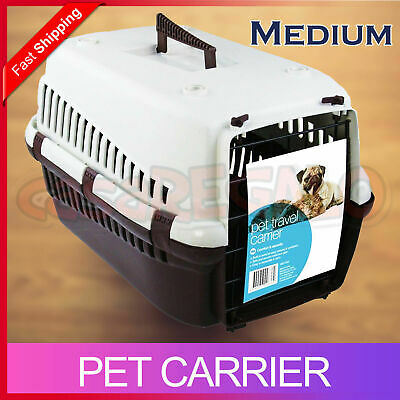Medium Portable Pet Dog Cat Carrier Travel Bag Cage House Safety Lockable Kennel