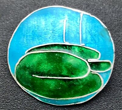 very fine hand wrought silver & enamel lily pad button