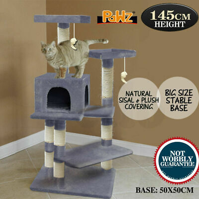 1.45 M Cat Scratching Post Tree Gym House Condo Furniture Scratcher Pole Grey