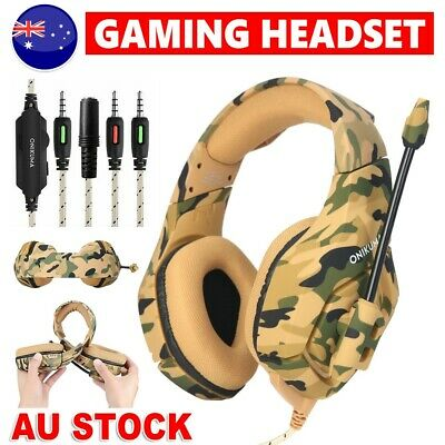 ONIKUMA K1 Stereo Bass Surround Gaming Headset for PS4 Xbox One Yellow Camo