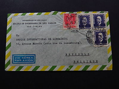 Cover Via Aerea Par Avion Universidade Brasil Brazil to Bruxelles Belgique 1956